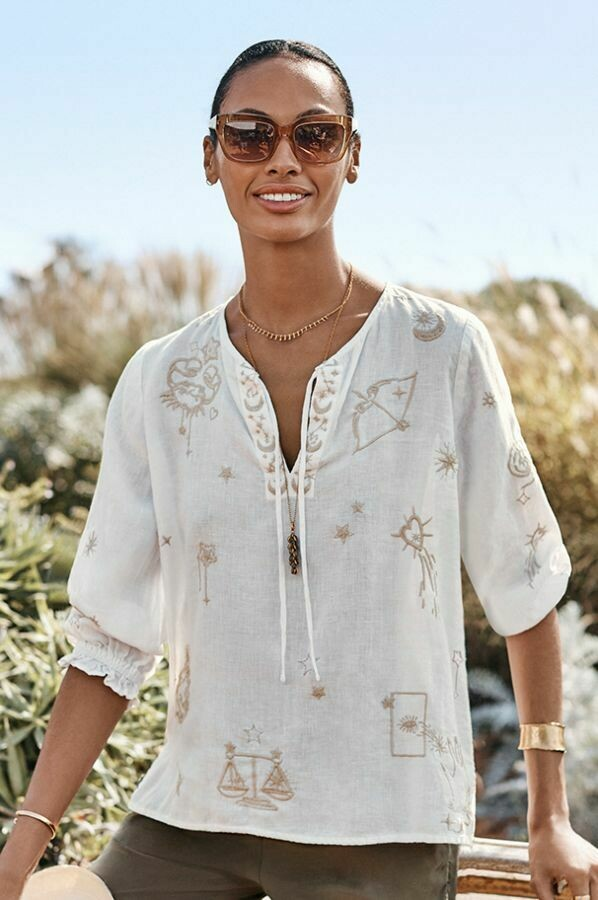 Johnny Was J11120-D ALGOL Linen Split Neck Top