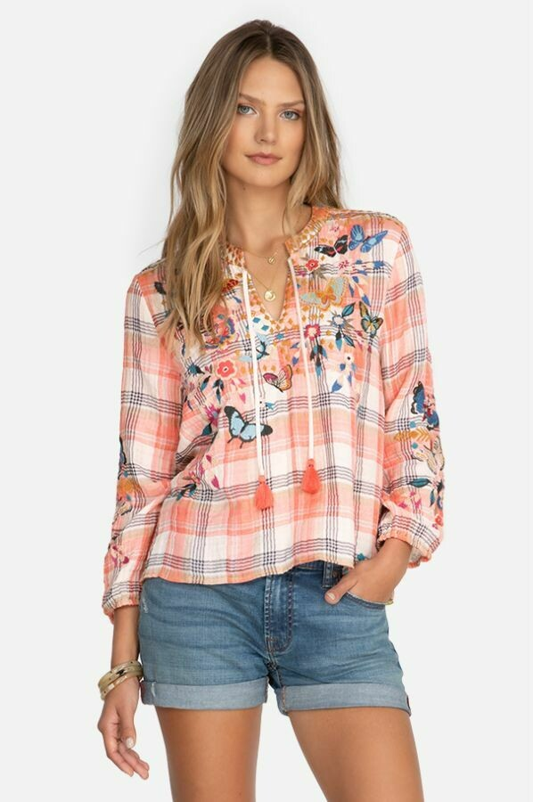 Johnny Was W17921-1 Mariposa Peasant Blouse