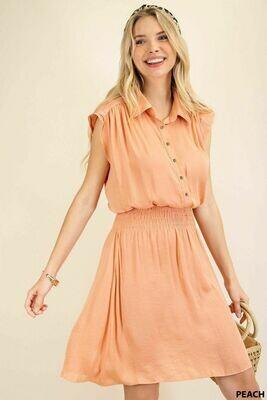 Kori C5597 Smocked Waist Pleats Shirt Dress