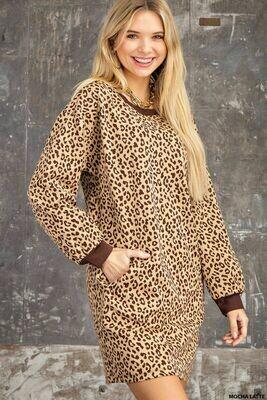 Kori N7657 Jacquard Rib Band Dress Animal Print