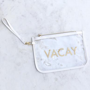 Royal Standard Vacay Clear Wristlet White/Gold  9X6