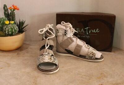 Diba True Black/White Snake Sandals