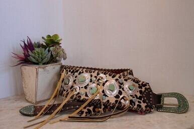 KM B-075 Belt Slv Concho Turq Star Acct Vintage Whip & Ties Small