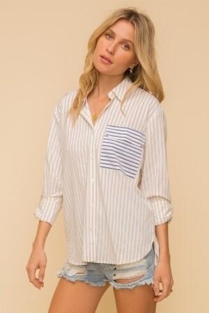 Hem & Thread 30326J Striped Button Down Shirt