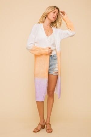 Hem & Thread 30532F Long Tie Dye Cardigan