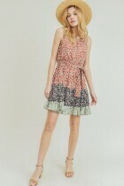 Cotton Bleu 70286W Floral Prt Tiered Dress