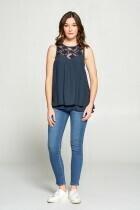 Cotton Bleu 61791W Lace Detail Tank Top