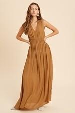 Wishlist WL20-3620 Smocked V Neck Maxi Dress