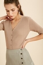 Wishlist WL20-3822 Button Down Ribbed Knit Top