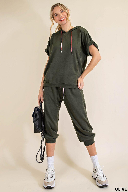 Kori M6102 Set Crop Pant W/Hoodie Top