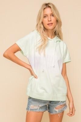 Hem & Thread 30837F Tie Dye Short Sleeve Hoodie