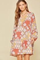 Savanna Jane 9377-2 LS V Neck Baby Doll Dress