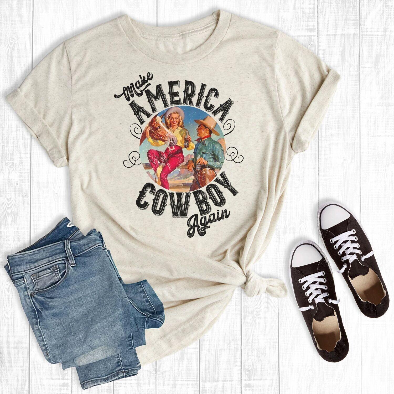 Rebel Rose Make America Cowboy Tee Shirt