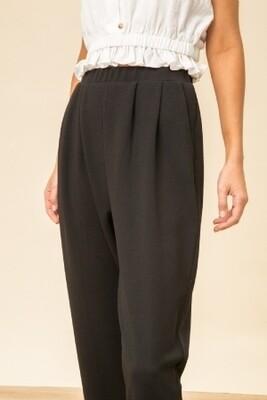 Hem & Thread 8056 Black Tapered Crepe Trousers