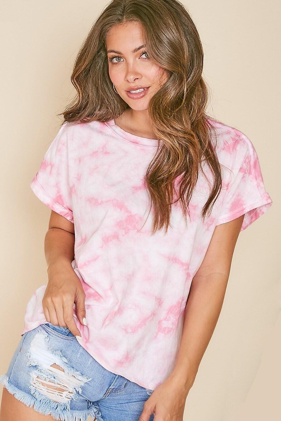 Peach Love OKT81643-01 Tie Dye SS Top