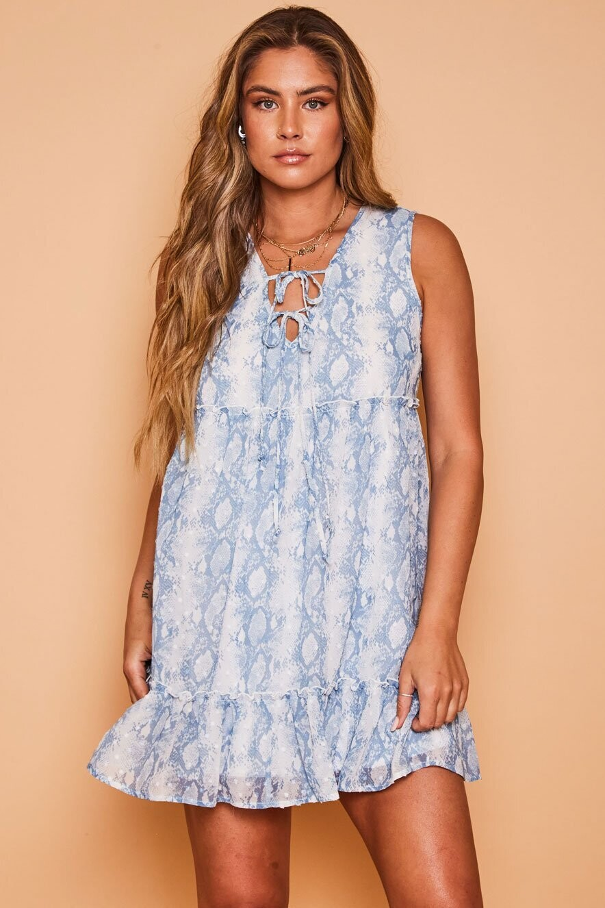 Peach Love D81425-01 Snake Prt SLVLS Woven Dress