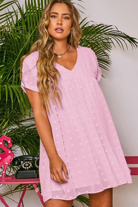 Peach Love D61164-01 Dot Jacquard SS Woven Dress