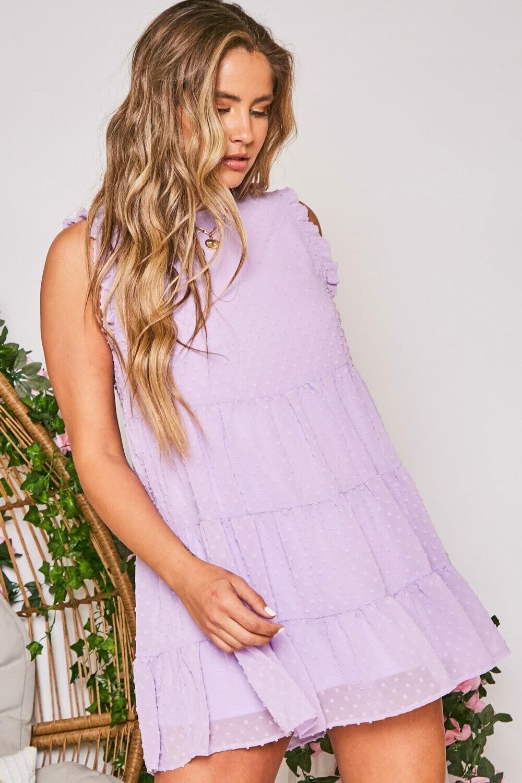 Peach Love ID83347-01 Dot Jacquard SLVS Dress