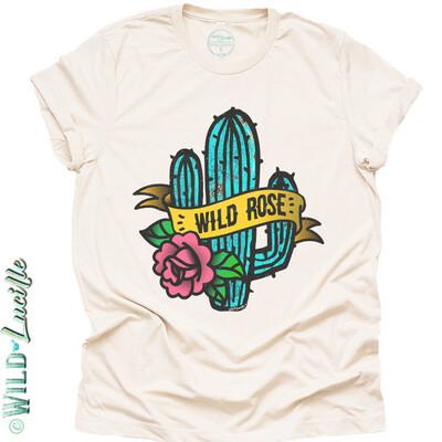 Wild Lucille Wild Rose  Cactus Tee Shirt