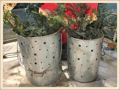 Peacock Park ST1673 Christmas Pail S/2 Holiday Stars