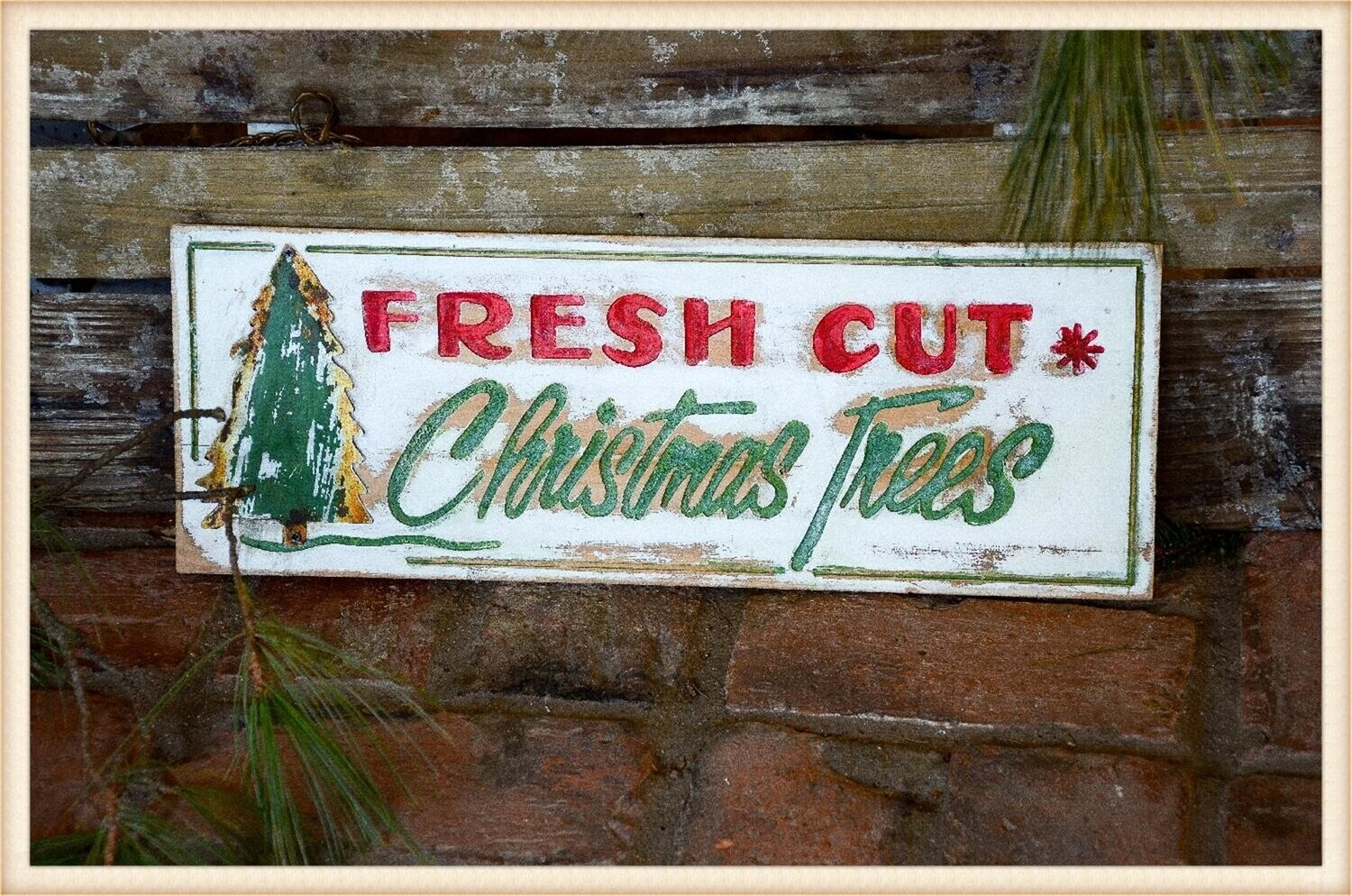 Peacock Park BF1918 Fresh Cut Tree Sign Engraved