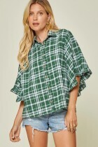 Andree 18744 Button Down Riffle Sleeve Top