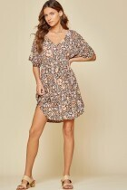 Andree 8743-7 SS Dress Floral Print