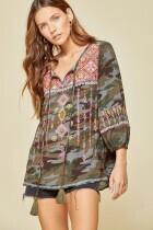 Savanna Jane 18674-C 3/4 Slv Top W/Embroidery