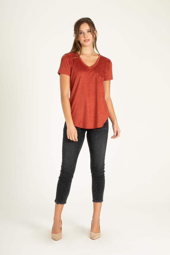 Another Love V Neck Tee Suede