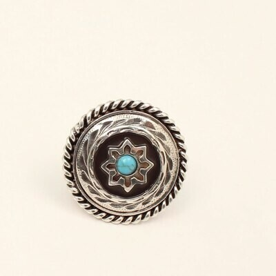 M & F Western 28081 Scarf Slide Silver/Turquoise