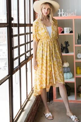 Heyson ET1007 Floral Hi Lo Kimono W/Waist Tie