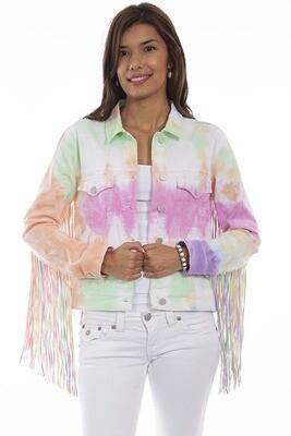 Scully HC688 Tie Dye Denim Jacket W/Fringe