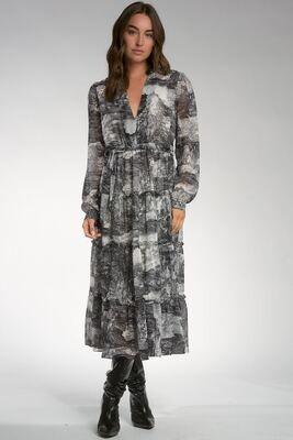 Elan CFP5699 Midi Dress V Neck Paisley