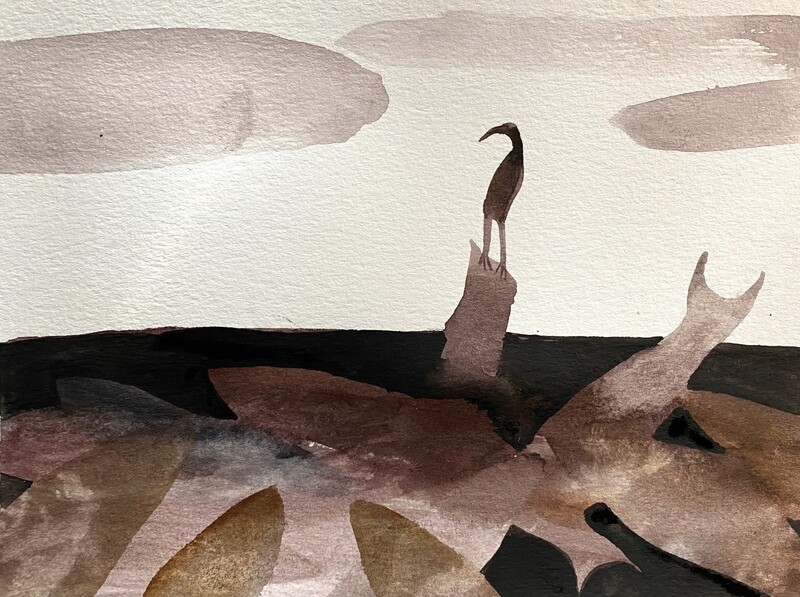 Travis Shilling Watercolour, Heron and the Fish