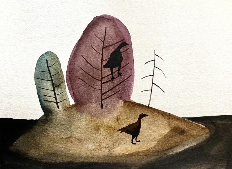 Travis Shilling Watercolour, Wild Turkeys