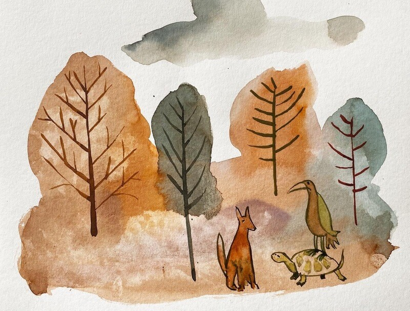 Travis Shilling Watercolour, Turtle and the Crane