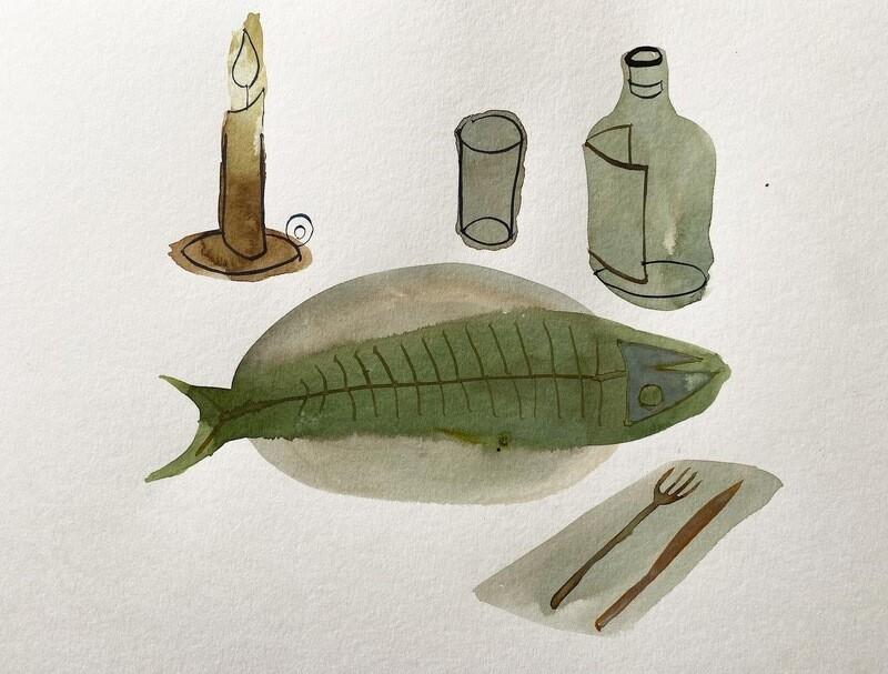 Travis Shilling Watercolour, Sunday Dinner