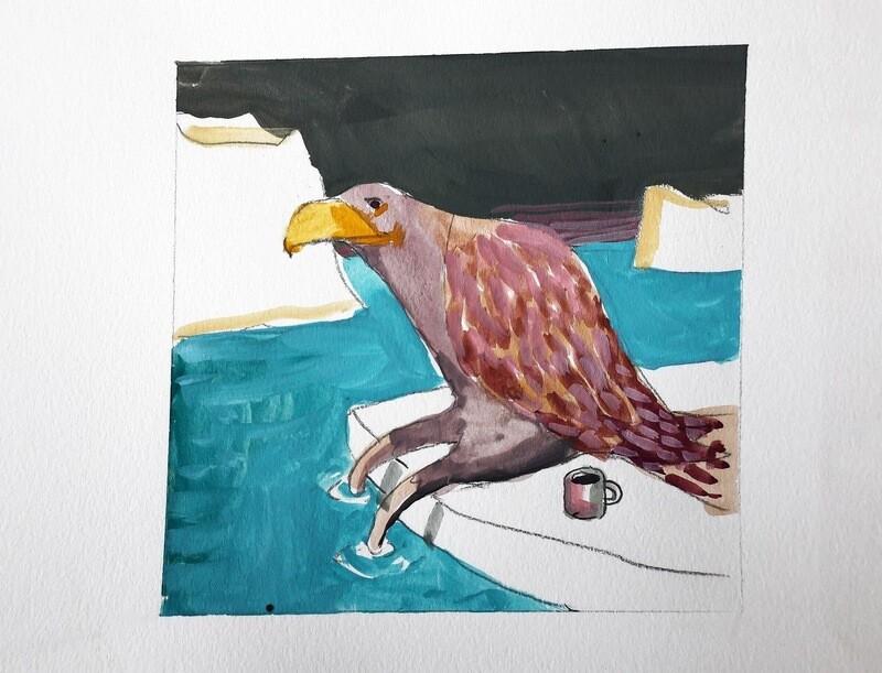 Travis Shilling Watercolour, Falcon