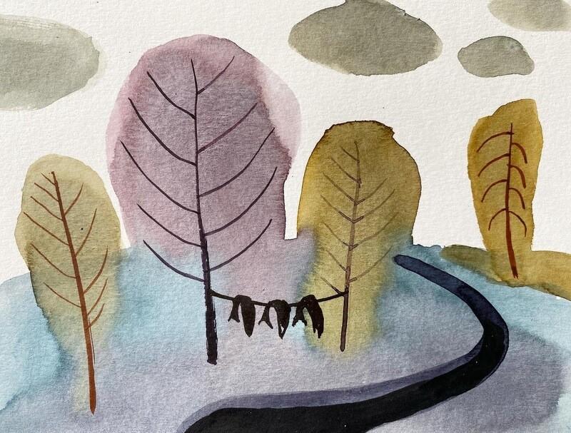 Travis Shilling Watercolour, Three Fish