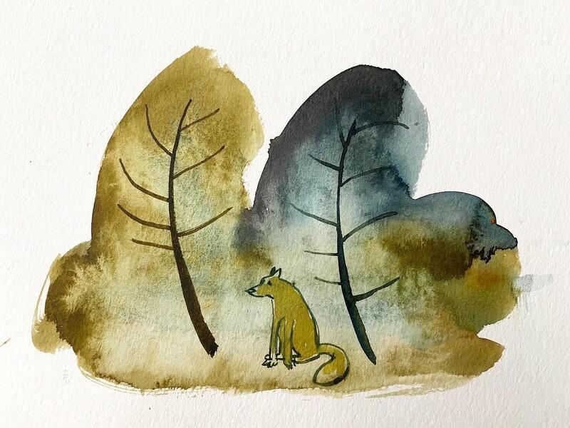 Travis Shilling Watercolour, Fox