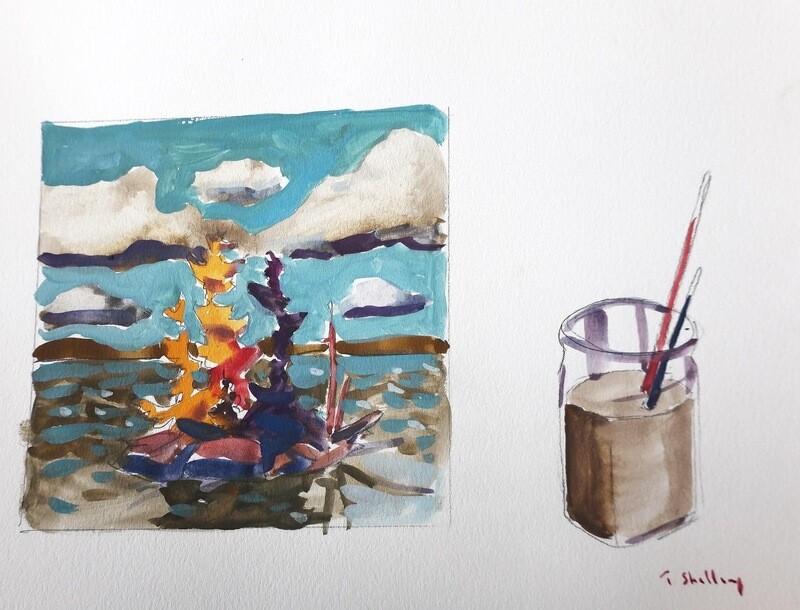Travis Shilling Watercolour, Landscape Still Life