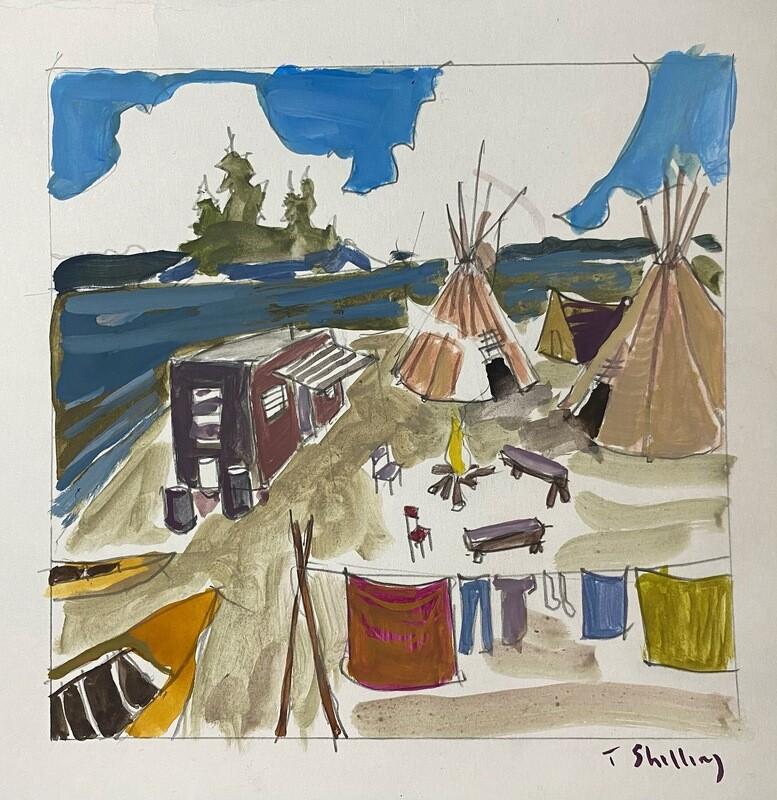 Travis Shilling Watercolour, The Camp