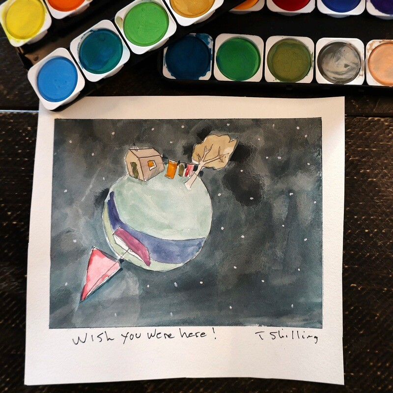 Travis Shilling Watercolour, Wish You Were Here