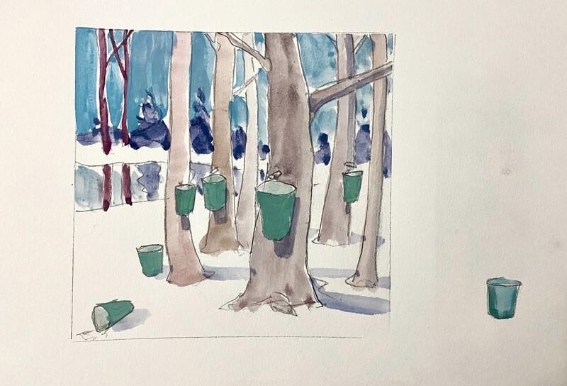 Travis Shilling Watercolour, Maple Season