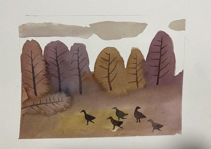 Travis Shilling Watercolour, Turkeys on a Fall Day