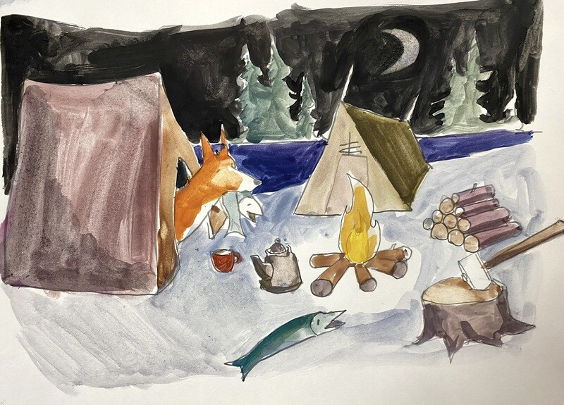 Travis Shilling Watercolour, Campfire by the Lake