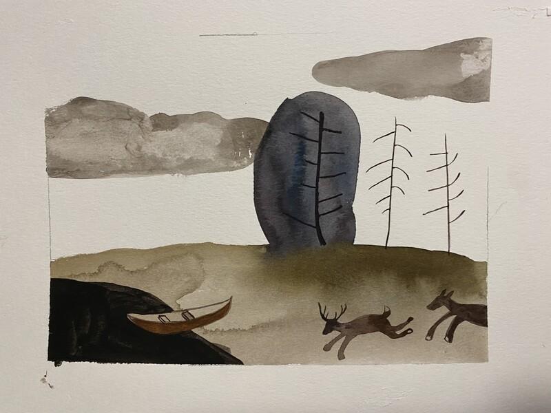 Travis Shilling Watercolour, Canoe