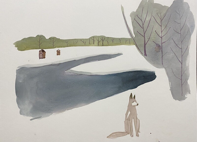 Travis Shilling Watercolour, Afternoon at the Lake