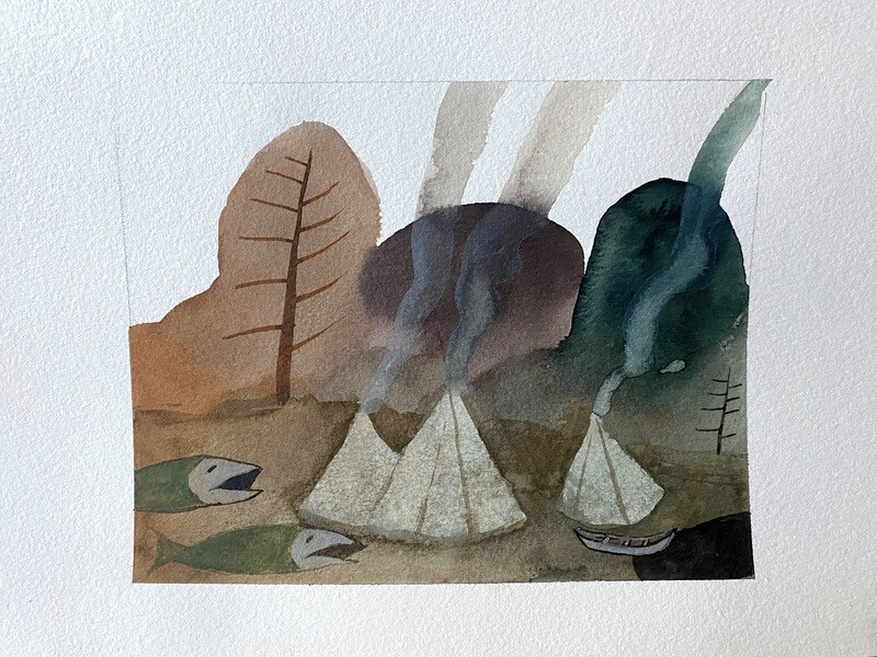 Travis Shilling Watercolour, The Campground