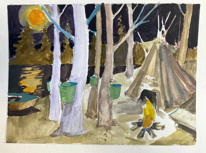 Travis Shilling Watercolour, Hunger Moon